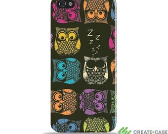 """CreateandCase Artist Designed iPhone SE, iPhone 5/5S, iPhone 4/4s case / cover / shell - """"Sherbet Owl"""" Wrap around case"""