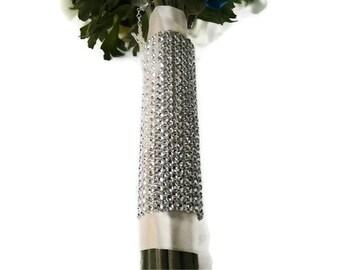 Bridal Bouquet Wrap - Silver Bling Rhinestone Floral Wrap - Wedding Flower Wrap - Bridesmaid Flower Holder Wrap