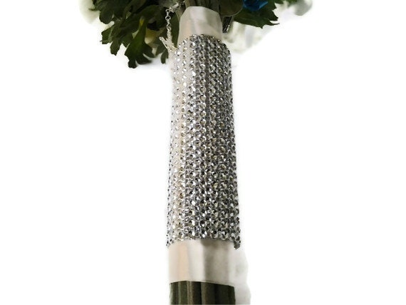 Bridal Bouquet Wrap, Silver Bling Rhinestone  Wedding Flower Wrap, Floral Bouquet Silver Wrap