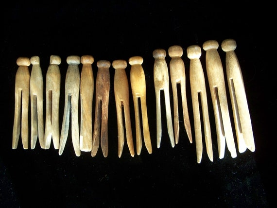 wooden clothespins clothes pegs vintage by