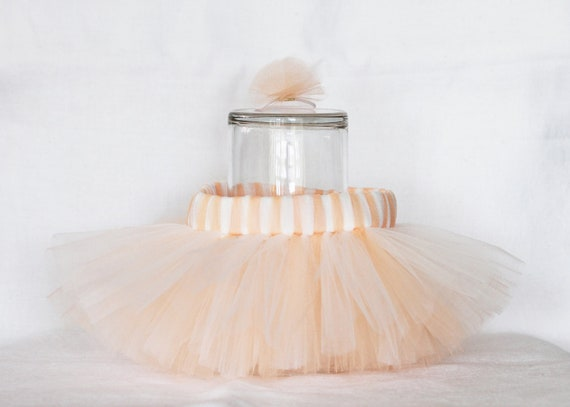 Peach /coral and ivory handmade  tutu skirt (newborn-3 months) with tulle flower corsage/ photo props