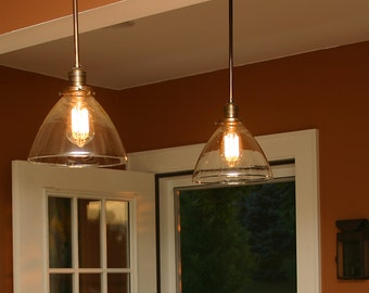 Custom Pendant Light with blown glass shade