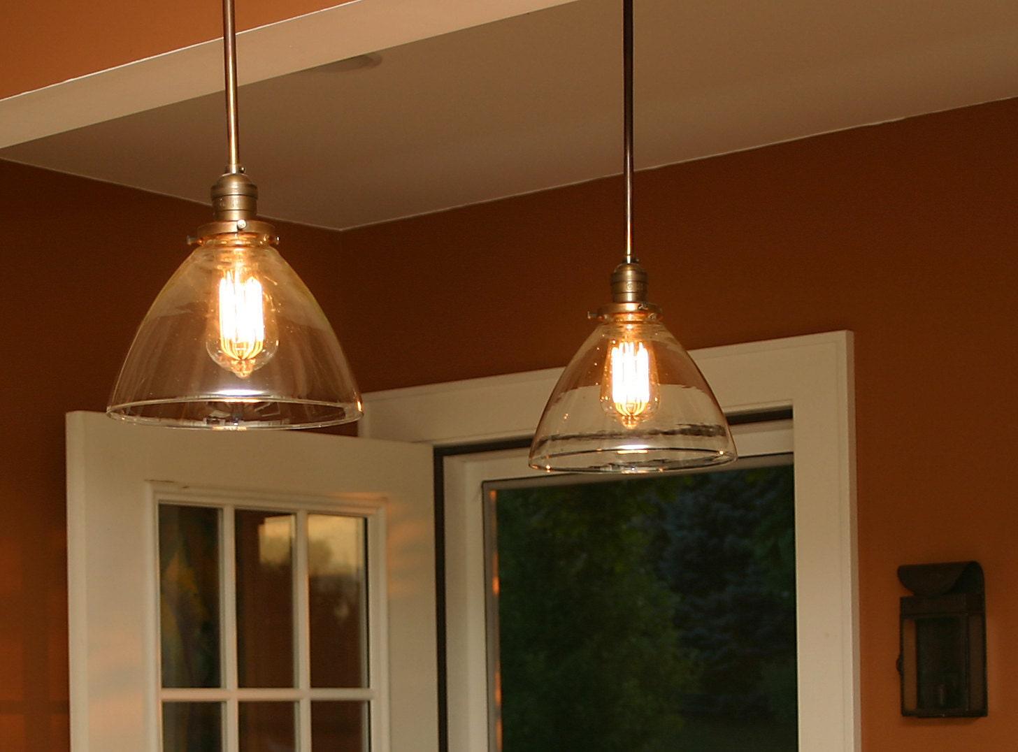 Custom Pendant Light With Blown Glass Shade