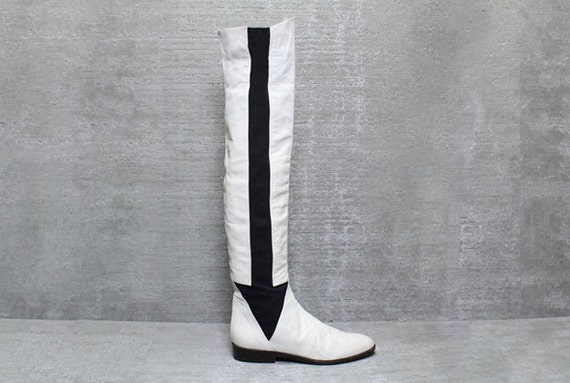Vtg 80s White Leather Mesh Arrow Over The Knee Thigh High Boots 7 7.5 8