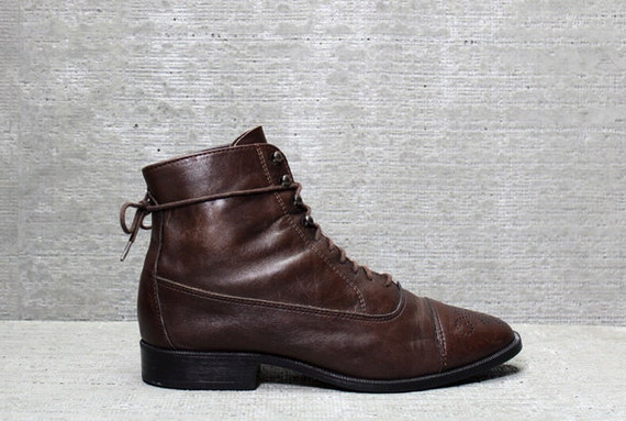 Vtg 90s Brown Leather Lace Up Granny Ankle Boots 7 M