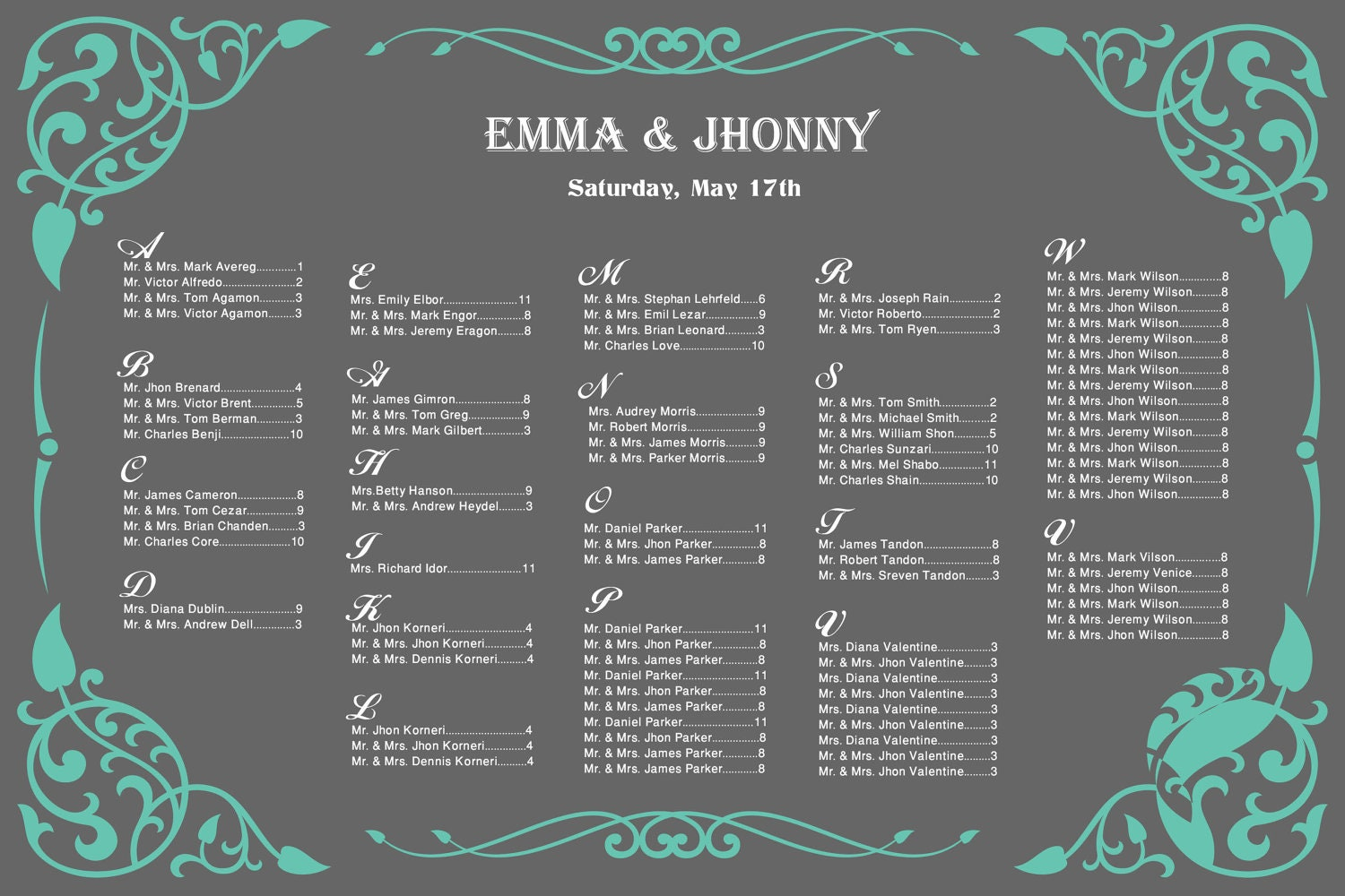Wedding seating chart template printable
