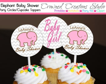 Elephant Baby Shower Cupcake Toppers, Stickers, or Party Circles - Baby Girl Pink Elephant Party Printables