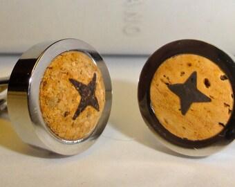 Wine Cufflinks - Mens Cufflinks - First Anniversary Gift - Wine Cork Cufflinks