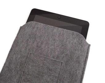 Felt iPad Bag, iPad Cover, iPad Sleeve, iPad Sleeve Case,  iPad4, iPad Air, Felt Tablet Case, Light Grey  Felt Sleeve Case with Poket