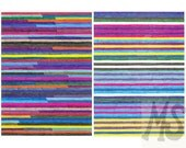 Colorful Art Print - Multi Color Stripes Graph Drawing, Print of Original Art, digital art print, striped art