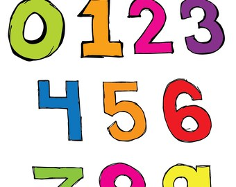 Basic Numbers Clipart Set INSTANT DOWNLOAD