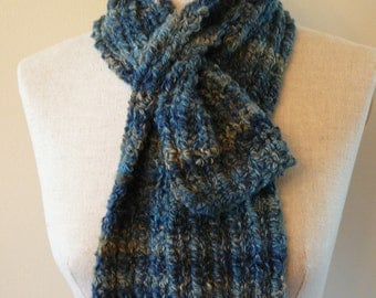 Totally Teal Hand Knit Ribbed Keyhole Scarf
