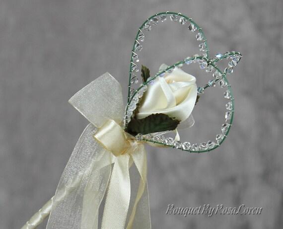 Items Similar To Cream Heart Wedding Wand Cream Flower