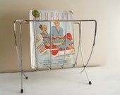 Mid Century Vintage Silver Metal Collapsable Magazine Rack