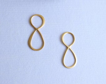 Gold Plated Sterling Silver Infinity Connector -- Two Pieces
