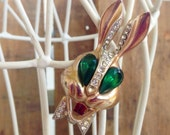 SALE - Vintage Bunny Rabbit with Bow Tie Brooch