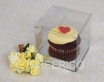 25 unit of Clear Cupcake Boxes with Silver Cupcake Holder