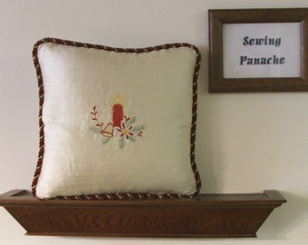 Embroidered Christmas pillow cover