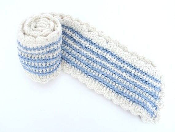 CLEARANCE- Winter crochet scarf blue and white handmade striped scarf
