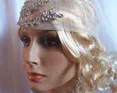 HARLEY GIRL...Modern bridal  flapper-bandana headpiece.Ready to ship.
