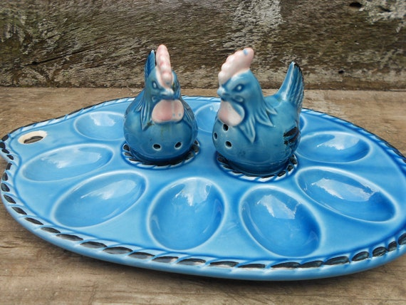 Deviled Egg Plate -  Salt and Pepper - Egg Dish - Vintage Hens - Egg Plate - Ceramic Set