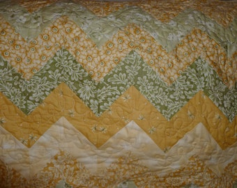 Muted Green, Gold, & Cream Chevron Quilt
