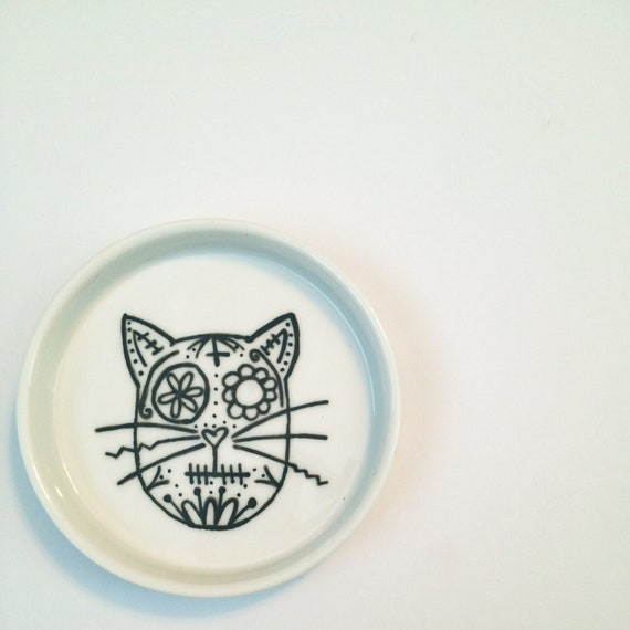 Sugar Skull Cat Jewelry Dish- READY TO SHIP