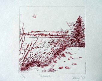 Lakeside in the wintertime, Erfurt Nord. Etching on paper. Dark red, grey-brown colors