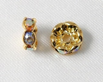 10 pcs - 8mm Rhinestone Rondelles Gold With Crystal AB