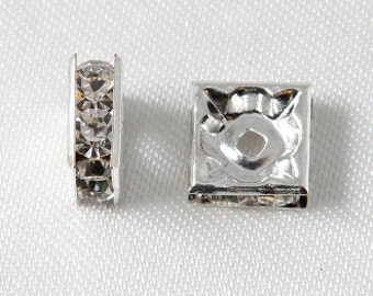 10 pcs - 8mm Rhinestone Squaredelles Square Rondelles Spacer Beads Silver With Crystal