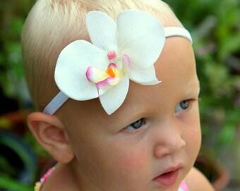 Fresh little orchid headband, baby girl headband or clip,  toddlers girl headband,  Hawaiian luau party, tropical hair flower, Hula flower