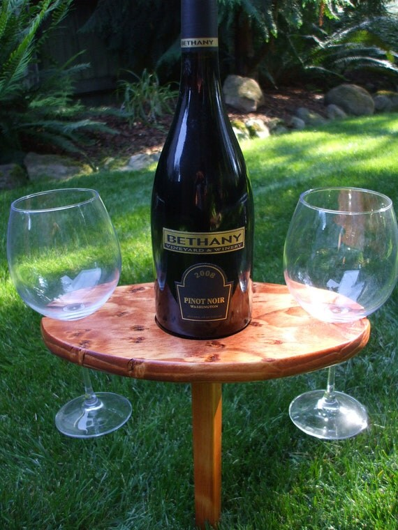 Portable Outdoor Wine Table And Glass By Woodinyoudinedivine