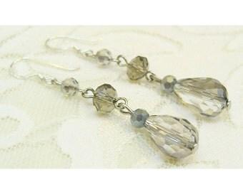 Gray crystal drop earrings, teardrop shaped with sterling silver ear wires