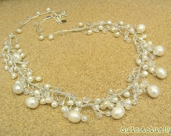White freshwater pearl dangle necklace with crystal on silk thread