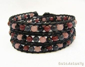 Pink black stone wrap bracelet with crystal on polyester cord