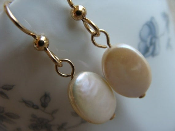Oval Coin Pearl and Gold Earrings
