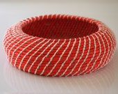 Upcycled 'Hot & Cold' Rope Basket: Red / Coiled / Large