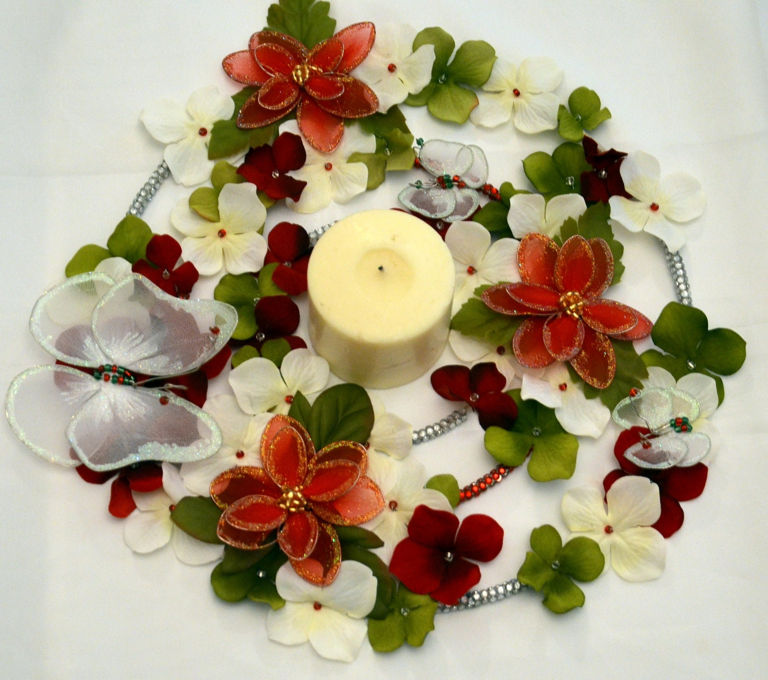 Poinsettia's and Snowy Butterfly Christmas Wreath (candle ring)