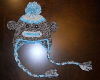 Crochet Sock Monkey Earflap Hat & Diaper Cover Set Handmade Blue Photo Prop