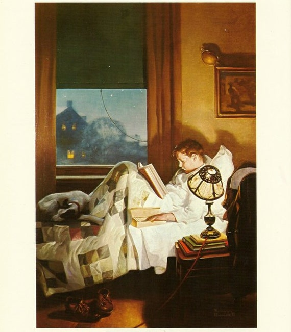 Norman Rockwell Art Print Boy Reading Eating In Bed 1920 S