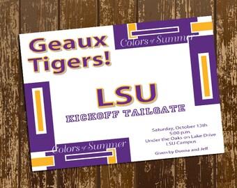 Purple and Gold LSU Invitation - Digital File