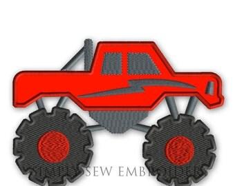 Monster Truck Applique -- Boy Embroidery Design Machine Applique No. 040