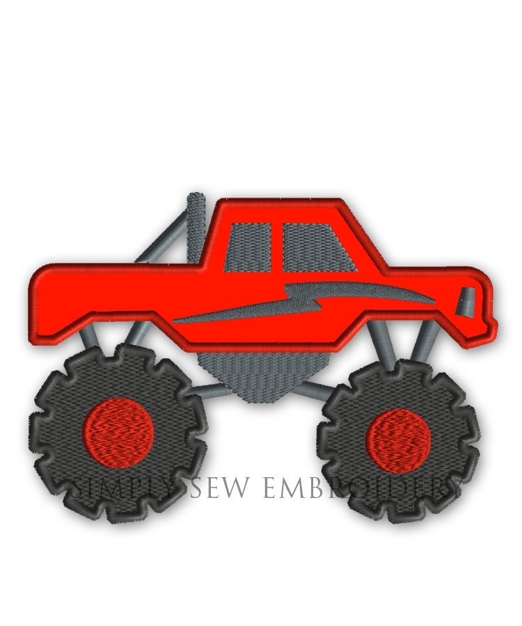 Monster Truck Applique Boy Embroidery Design Machine