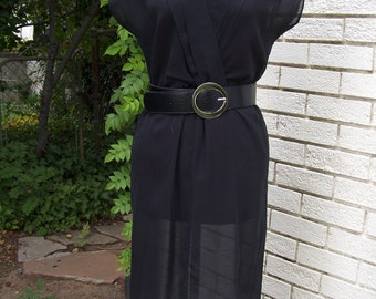 1980s 80s black sheer dress
