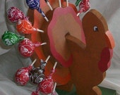 Large Wooden Turkey Decoration and Lollipop Holder