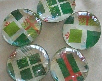 Large Christmas Glass Marble Magnet