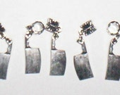 5 Meat Cleaver knifes Dangle Charms
