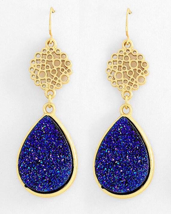 Matte Gold & Blue-purple Agate Tear Drop Dangle Earrings