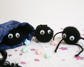 3 Soots Sprites in a Sack  Studio Ghibli Soots and Star Pouch