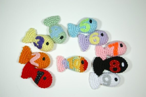 Crochet Counting Rainbow Fish Game, Educational Plush Toy, Learning Counting Game, Soft Educational Number Set